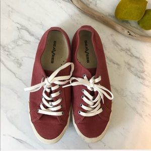 SEAVEES-Monterey Standard Red Canvas Sneakers-Sz 8